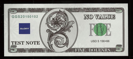 """ATM Test Note """"GLORY"""" 5 Dollars, Testnote, RRR, UNC, With Watermark - USA"""