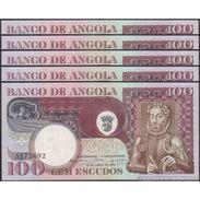TWN - ANGOLA 106 - 100 Escudos 10.6.1973 Various Prefixes AU/UNC DEALERS LOT X 5 - Angola