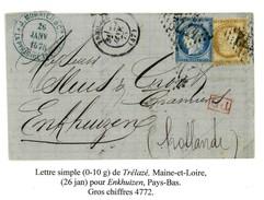 France Yv. 55 Et 60 Obl GC4772 Trelaze (D47 Maine & Loire) Indice 7 Sur Lettre Destination Enkhuizen Hollande (num B67T) - 1849-1876: Klassik