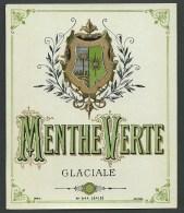 Ancienne Etiquette   Menthe Verte Glaciale  étiquette Vernie  Imp Jouneau Paris - Etiquettes