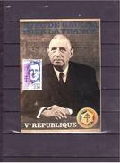 """2634   """"1890 1970"""" 100e Anniversaire De La Naissance Du Général De Gaulle *CARTE MAXIMUM *60/46* - 1970-79"""