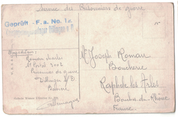WW1 - CARTE D'ALLEMAGNE DE PRISONNIER DE GUERRE CAMP DE DILLINGEN AVEC CENSURE GEPRUFT POUR FRANCE RAPHELE ARLES - Poststempel (Briefe)