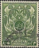 PAKISTAN 1951 4th Anniv Of Independence - Saracenice Leaf Pattern -  4a. - Green FU - Pakistan