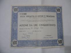 SOCIETà COOPERATIVA DI CONSUMO DI BREGAZZANA VARESE AZIONE DA LIRE 500. - Azioni & Titoli