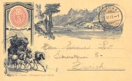 """SUISSE   JUBILANDPOSTKARTE  CARTE DESSINEE  DILIGENCE  PIONNIERE 1893  """"PREMIER JOUR DE L'EXPOSITION"""" ZURICH - Suisse"""