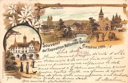 GENEVE   SOUVENIR DE L'EXPOSITION NATIONALE SUISSE  1896  CARTE DESSINEE  PIONNIERE - GE Geneva