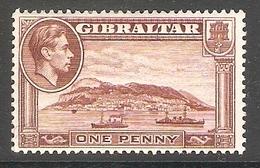 002214 Gibraltar 1942 1d MH Perf 13 - Gibraltar