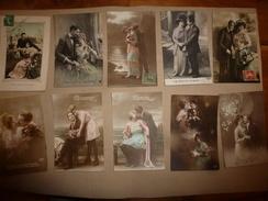 9 CPA   Couleurs Ou Sépia ,des Années 1908-1918  Thème Principal (couple Amoureux)  écrites - Couples