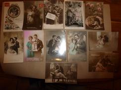 12 CPA   Couleurs Ou Sépia ,des Années 1908-1918  Thème Principal (couple Sentimental)  écrites - Couples
