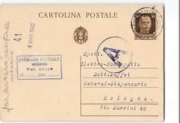 7570 01 FARMACIA CENTRALE MERANO X BOLOGNA - 1900-44 Victor Emmanuel III