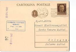 7687 02  FARMACIA CENTRALE MERANO X BOLOGNA - Entiers Postaux