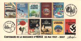 FRANCE 2007 N°34 Albums Fictifs + 2 Cachets Premier Jour FDC TINTIN KUIFJE TIM HERGE GUEBWILLER - Bücher, Zeitschriften, Comics