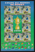 M 724) Frankreich 1999 Mi# 3421 (10) KB **: 4. Rugby-WM, Oval Ellipse Flaggen Der Teilnehmer, Mi# 3421 I Druckvermerk - Rugby
