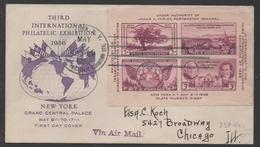 USA - NEW YORK  / 1936 FEUILLET SUR ENVELOPPE PREMIER JOUR POUR CHICAGO (ref 2579) - Storia Postale