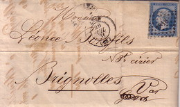 RHONE - LYON - EMPIRE N°14 DU 26-7-1861 - ENTETE JJ CHATENAY & FILS BOUGIES DES SALONS RUE DUBOIS . - Postmark Collection (Covers)