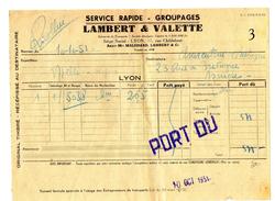 FACTURE  LAMBERT & VALETTE  Service Rapide-Goupages  ASNIERES LYON   Octobre 1951  29 - Transports