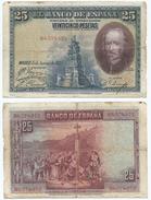 España - Spain 25 Pesetas 1928 Pick 74.c Ref 670-2 - 1-2-5-25 Pesetas