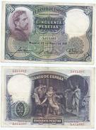 España - Spain 50 Pesetas 25-4-1931 Pk 82 Sin Serie Ref 677-2 - [ 1] …-1931 : Primeros Billetes (Banco De España)