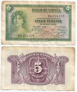 España - Spain 5 Pesetas 1935 Pick 85.a Ref 188 - [ 2] 1931-1936 : Republic