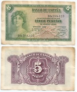 España - Spain 5 Pesetas 1935 Pick 85.a Ref 188 - [ 2] 1931-1936 : Republiek