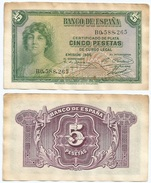 España - Spain 5 Pesetas 1935 Pick 85.a Ref 190 - 5 Pesetas