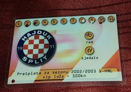 HAJDUK SPLIT 2002/2003 SEASON, VIP LOUNGE YEAR TICKET- USED - Match Tickets