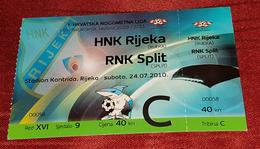 HNK RIJEKA- RNK SPLIT, FIRST CROATIAN NATIONAL LEAGUE FOOTBALL MATCH TICKET - Match Tickets