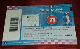MEN'S WORLD HANDBALL CHAMPIONSHIP 2009. SPLIT CROATIA, PRELIMINARY ROUND - Match Tickets