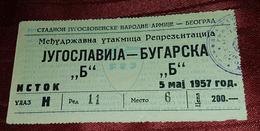"YUGOSLAVIA ""B"" - BULGARIA ""B"" 1957. RARE VINTAGE FOOTBALL MATCH TICKET - Match Tickets"