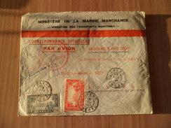 Lettre Par Avion Ministère De La Marine Marchande Dakar Le 18 Févrie 1941 à Abidjan N° 125 Et 131 Signée + Cachets  B/TB - Sénégal (1887-1944)