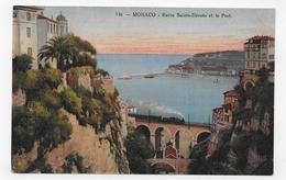 MONACO - N° 746 - RAVIN SAINTE DEVOTE AVEC TRAIN  ET LE PORT - CPA NON VOYAGEE - Puerto