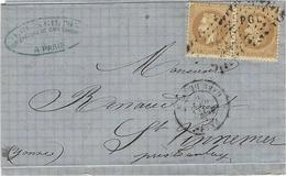 Aout 1870- Lettre De PARIS / GARE DE LYON Affr. Paire N°28 Oblit. Losange P G L   Pour St Vinnemer ( Yonne ) - 1849-1876: Periodo Clásico