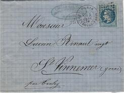 1869- Lettre De PARIS / MONTROUGE-PARIS   Affr. N°29 Oblit. G C 2523 - Postmark Collection (Covers)