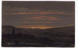 BELGIQUE 20 AOUT 1914  F  MANDRE  PASTEL - CRAIE SUR PAPIER A DESSIN FONCE1915 FORMAT CARTE POSTALE ANCIENNE - Pastell