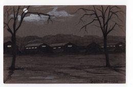 CLAIR DE LUNE AU CAMP DE ST MAUR 1914  F MANDRE PASTEL CRAIE SUR PAPIER A DESSIN FONCE1915 FORMAT CARTE POSTALE ANCIENNE - Pastelli