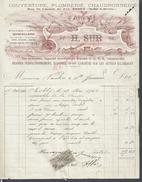RARE FACTURE ILLUSTRÉE DE 1900 H. SUR COUVERTURE CHAUDRONNERIE ESBLY RUE DU CHEMIN DE FER PETIT TROU : - France