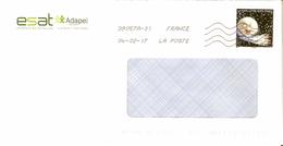 """ENVELOPPE AVEC TIMBRE  LETTRE VERTE ANNEE 2016 """"CORRESPONDANCES PLANETAIRES"""" OBLITERE - France"""