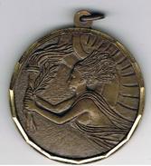 Médaille Femme  Art _déco  Flame Et Rameau D'olivier - Athletics