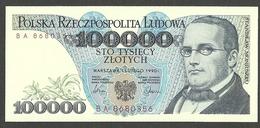 POLAND 100000 ZLOTYCH 1990 PICK # 154a GEM UNC - Poland