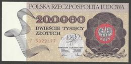 POLAND 200000 ZLOTYCH 1989 PICK # 155a GEM UNC - Pologne