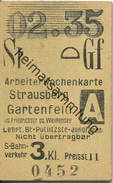 Deutschland - Arbeiterwochenkarte - Strausberg - Gartenfeld - S-Bahnverkehr 3. Kl. - Fahrkarte 1935 - Wochen- U. Monatsausweise