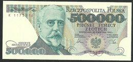 POLAND 500,000 500000 ZLOTYCH 1990 P#156 GEM UNC - Pologne