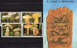 Naturschutz Pilze 1989 GUYANA 2480/4+Sao Tome Block 173 O 19€ Ritterling Schirmling Gürtelfuß Ss Sheet Bf Mushrooms - Nature