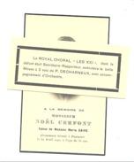 """Faire-part De Mr Noël CERFONT - PEPINSTER 1940 - Le ROYAL CHORAL """" Les XXI """"  Avec Enveloppe  (b202) - Overlijden"""