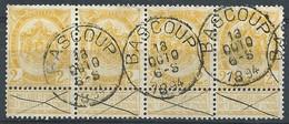 N°54, 2c Jaune En Bande De 4 Càd BASCOUP/1894 - 1893-1900 Fine Barbe