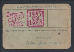 Cartão De Praticante De Futebol Da Associação De Futebol De Lisboa De 1957. Sport Grupo Sacavenense. - Sports