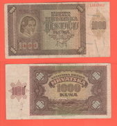 Croatia Croazia Hrvatska 1000 Kuna 1941 - Croatie