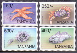 1998 Tanzania International Ocean Year, Crab, Fish, Marinelife (4v) MNH (M-38)