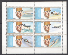 U117 SHARJAH FAMOUS PEOPLE CHARLES DE GAULLE AVIATION 1KB MNH - Airplanes
