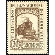 ES476STV-LFT***476STAN.Spain.Esgane.AVION,Congreso Internacional De FERROCARRILES.1930 (Ed 476**) - Nuevos